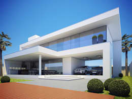 Fachada Posterior: Casas minimalistas por  Arquiteto Elias Mota