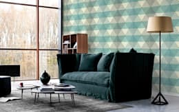 Geometric Diamonds : eclectic Living room by Pixers