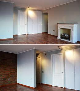 DEPTO. PSV.: Livings de estilo minimalista por ESTUDIO BASE ARQUITECTOS