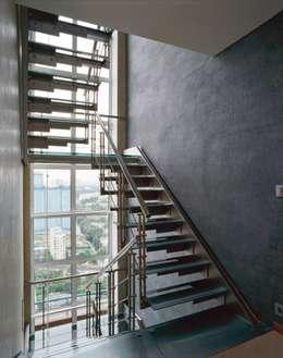 Лестница: Прихожая, коридор и лестницы в . Автор – Архитектурное бюро 'Дом-А'