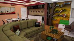 Diseño de Apartamento pequeño con elementos multifincionales: Salas de entretenimiento de estilo moderno por Rbritointeriorismo