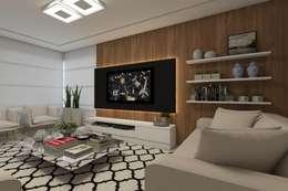 modern Media room by Barbara Lourenci Arquitetura e Interiores
