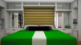 Apartamento pequeño con espacios multifuncionales y/o convertibles: Cuartos de estilo moderno por Rbritointeriorismo