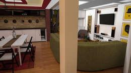 Apartamento pequeño con espacios multifuncionales y/o convertibles: Comedores de estilo moderno por Rbritointeriorismo