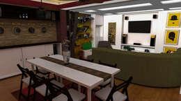 Apartamento pequeño con espacios multifuncionales y/o convertibles: Comedor de estilo  por Rbritointeriorismo