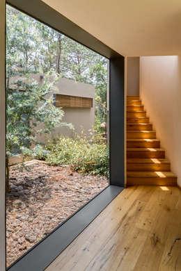 Acceso a volumen de recámaras - Casa 5: Pasillos y recibidores de estilo  por Weber Arquitectos