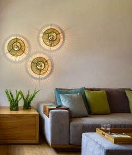 Detalle Sala TV - Casa 5: Salas multimedia de estilo escandinavo por Weber Arquitectos