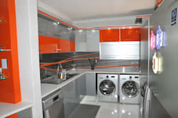 Orange and Silver Niemann Kitchen with Cesar Stone Work Tops.: modern Kitchen by Expert Kitchens and Interiors