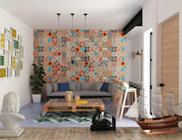 colonial Living room by Hipercubo Arquitectura