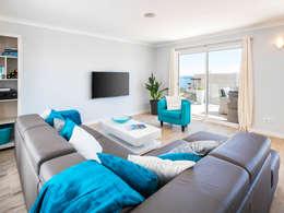 Casa Milhafre: Salas de estar modernas por Hi-cam Portugal