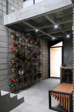 Corporativo INNOVA: Pasillos y recibidores de estilo  por Apaloosa Estudio de Arquitectura y Diseño