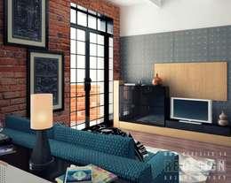 industrial Living room by Студия дизайна интерьера 'REDESIGN'