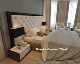 Элегантная спальня в светлых тонах: Спальная комната  в . Автор – Дизайн Студия 'Образ'