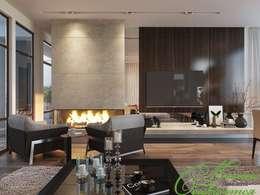 Строгая гостиная: Гостиная в . Автор – Компания архитекторов Латышевых 'Мечты сбываются'