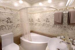 Дизайн морского интерьера трехкомнатной квартиры: Ванные комнаты в . Автор – Студия Ксении Седой