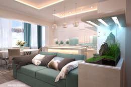 Дизайн морского интерьера трехкомнатной квартиры: Кухни в . Автор – Студия Ксении Седой