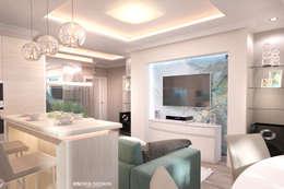 Дизайн морского интерьера трехкомнатной квартиры: Гостиная в . Автор – Студия Ксении Седой