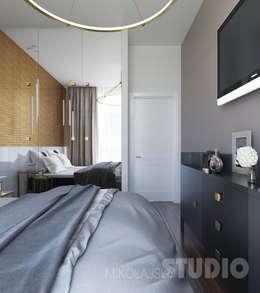 Elegancka sypialnia: styl , w kategorii Sypialnia zaprojektowany przez MIKOŁAJSKAstudio