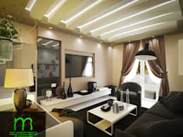 Living room:  غرفة المعيشة تنفيذ EL Mazen of Finishes and Trims