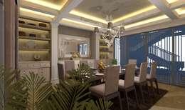 تصميم و تنفيذ فيلا على الطريق الصحراوي:  غرفة السفرة تنفيذ Ain Designs Studio