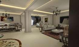 تصميم و تنفيذ فيلا على الطريق الصحراوي:  غرفة المعيشة تنفيذ Ain Designs Studio