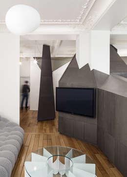 Projekty,  Salon zaprojektowane przez STUDIO RAZAVI ARCHITECTURE