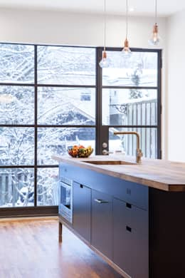 Custom Island with Reclaimed Wood Countertop: scandinavian Kitchen by STUDIO Z