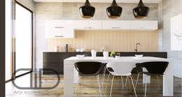 Interior Design and Rendering: minimalistic Kitchen by Design Studio AiD