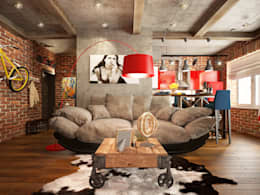 Studio in loft style: industrial Living room by design studio by Mariya Rubleva