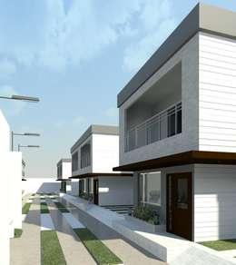 Vista diurna del conjunto (Lateral derecho): Casas de estilo minimalista por Diseño Store