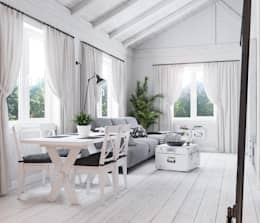 Salas / recibidores de estilo escandinavo por Home in the Woods