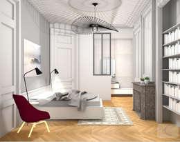 Rénovation d'un appartement haussmannien - Lyon: Chambre de style de style Moderne par Camille BASSE, Architecte d'intérieur