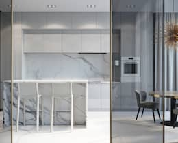 Оттенки серого: Кухни в . Автор – арх бюро Edifico