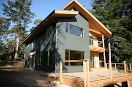 Modern style home with grey fiber-cement siding: modern Houses by Linwood Green Homes