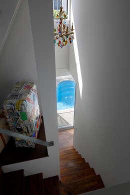 「水と光のある暮らし」吉祥寺のプールハウス 階段とプール: TAMAI ATELIERが手掛けた家です。