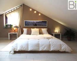 Casa Baie - Cambaire casa con l'uso del colore: Camera da letto in stile in stile Moderno di PROGETTO Bi