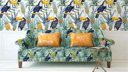 Floral Fun: colonial Living room by Blake Matthew Design