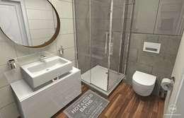 Baños de estilo escandinavo por Pracownia Projektowa MOJE