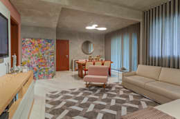Estar com jantar: Salas de estar industriais por Jacqueline Ortega Design de Ambientes