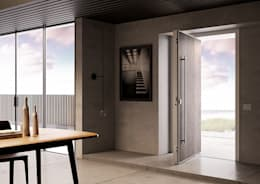 La porta blindata pivotante che coniuga sicurezza e design anche nelle grandi aperture.: Finestre & Porte in stile in stile Moderno di Di.Bi.