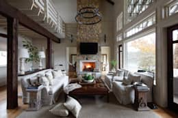 Lakefront Retreat: rustic Living room by Christopher Architecture & Interiors