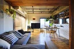 木、アイアン、打ちっぱなし。素材感が映えるヴィンテージ空間: 株式会社スタイル工房が手掛けたです。