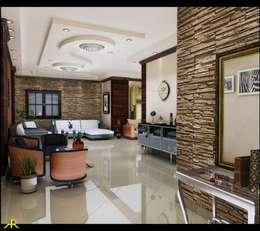 اختار المصمم الطراز الحديث للتصميم مع ألوان هادئة ومتناغمة ومن درجات البنى:  غرفة المعيشة تنفيذ Etihad Constructio & Decor