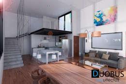 interior depto.: Salas de estilo moderno por DUOBUS M + L arquitectos