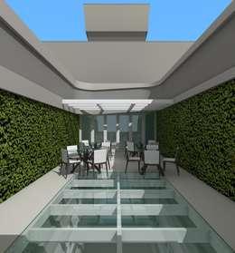Solárium com piso de vidro e sistema de fechamento tipo veneziana - vista 01 : Casas modernas por Arque - Arquitetura Eficiente