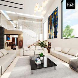 Diseño de  interiores y propuesta de mobiliario.: Salas de estilo moderno por HZH Arquitectura & Diseño