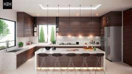 Diseño de cocina e interiores.: Cocinas de estilo moderno por HZH Arquitectura & Diseño