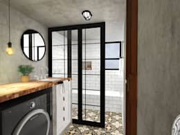Banheiro Industrial Retrô: Banheiros industriais por Andressa Cobucci Estúdio