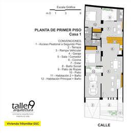 Planta de Primer Piso: Casas de estilo moderno por TALLER 9, ARQUITECTURA
