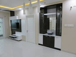 crockery cum handwash unit & LCD unit in living room: modern Living room by Bluebell Interiors